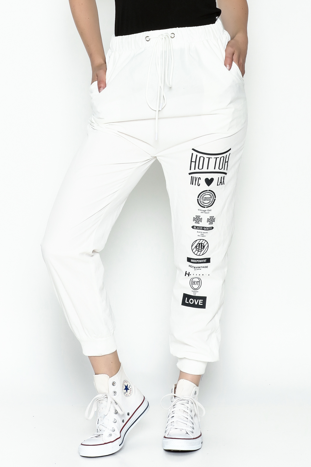 hot and delicious White Printed Pants - Main Image