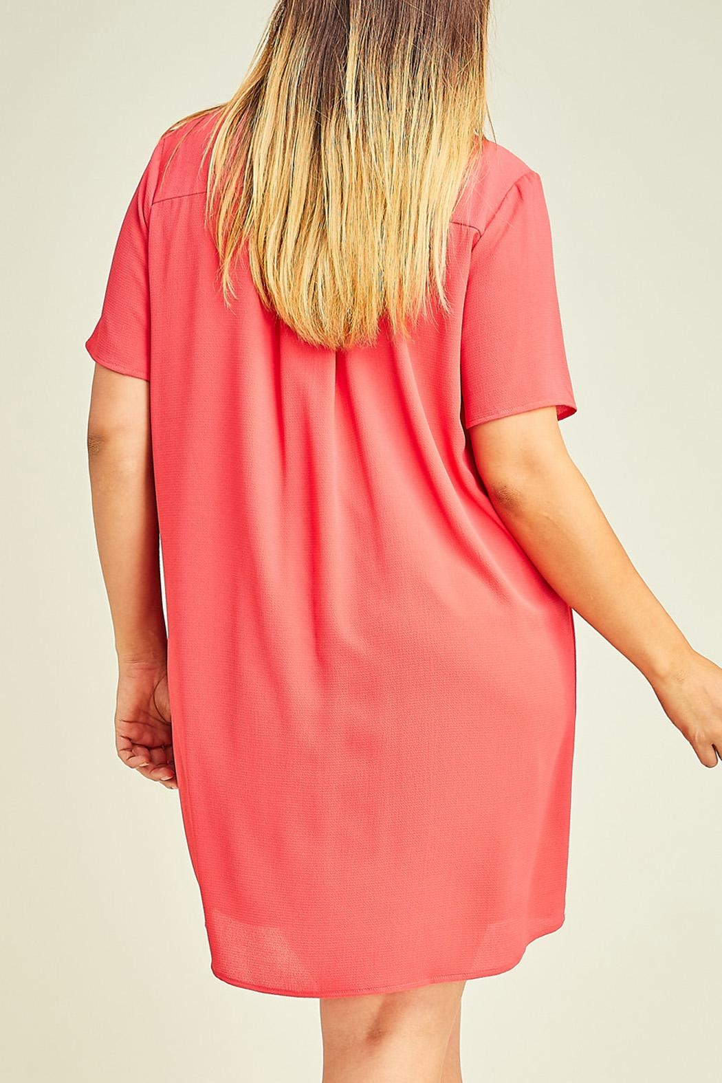 12pm by Mon Ami Hot Coral Dress - Back Cropped Image