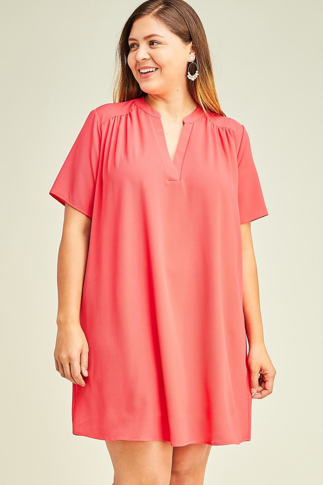 12pm by Mon Ami Hot Coral Dress - Side Cropped Image