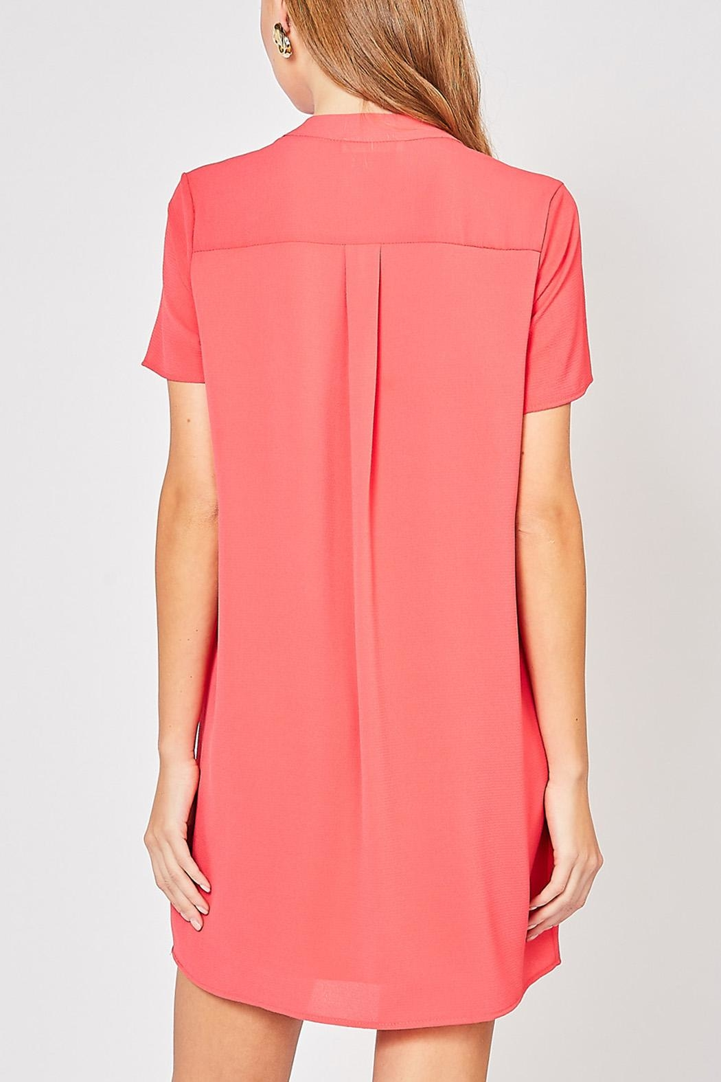 12pm by Mon Ami Hot Coral Dress - Front Full Image