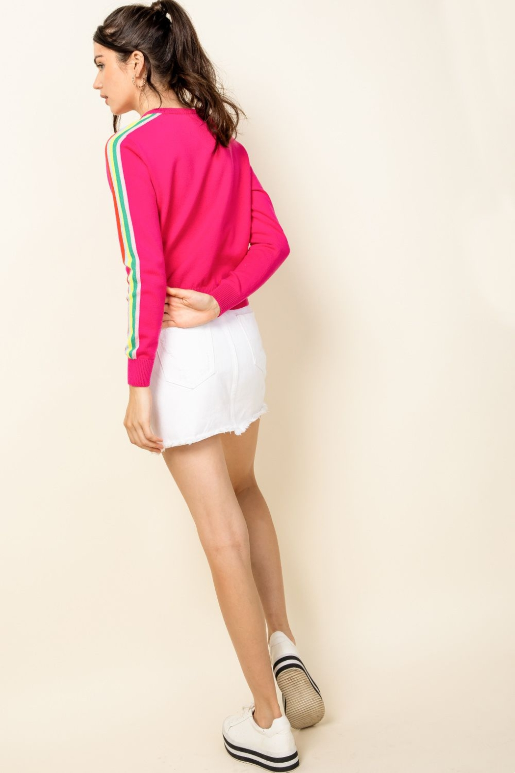Thml Hot Pink Crewneck Sweater - Side Cropped Image
