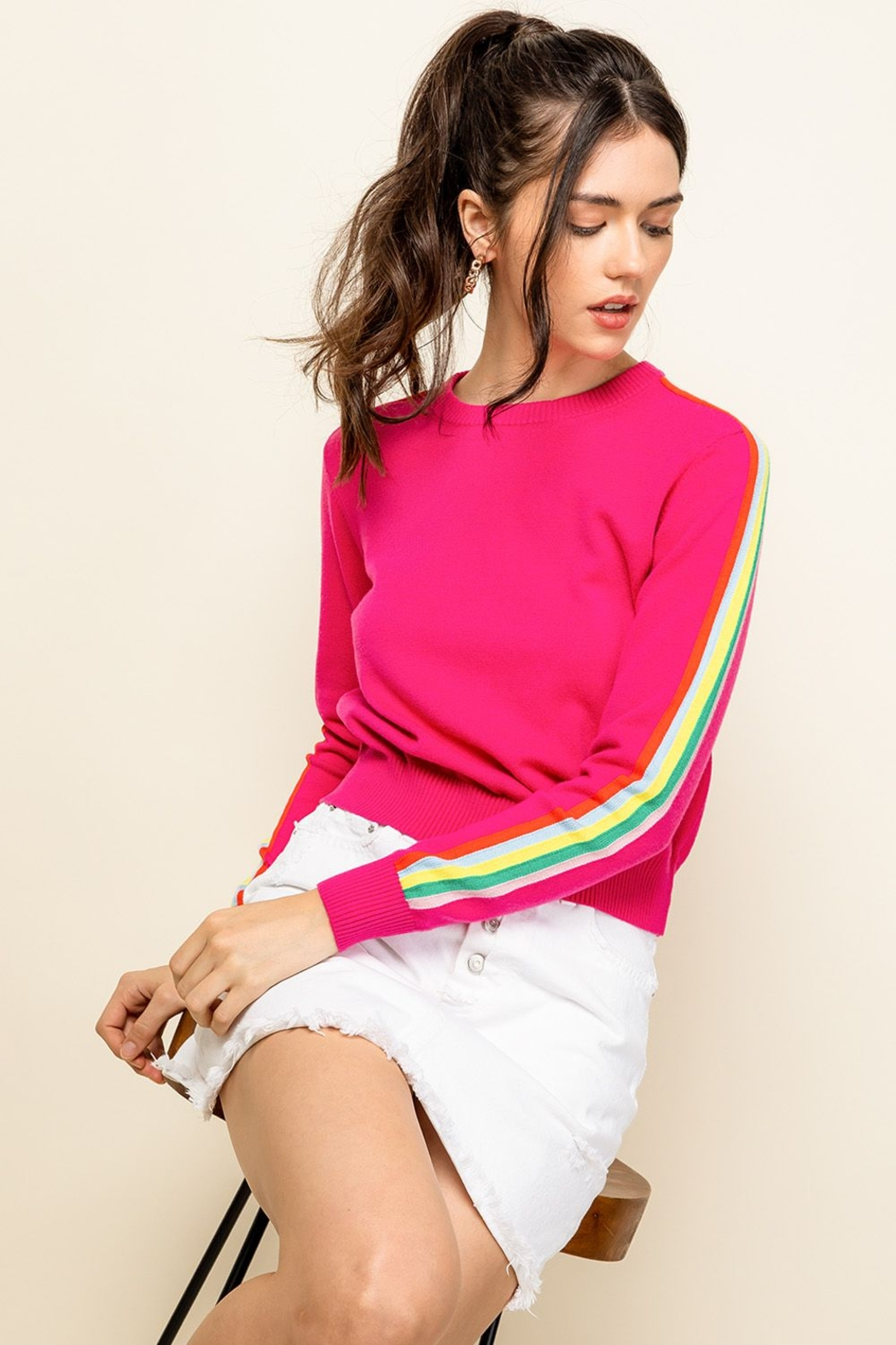 Thml Hot Pink Crewneck Sweater - Front Cropped Image