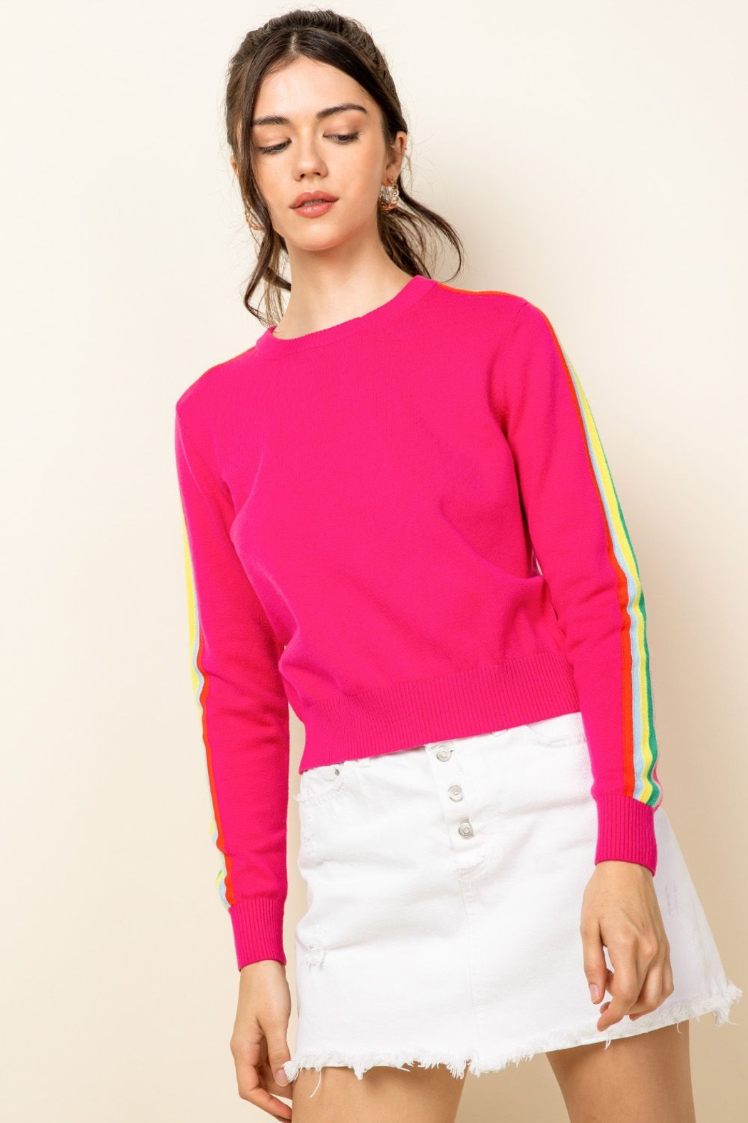 Thml Hot Pink Crewneck Sweater - Front Full Image