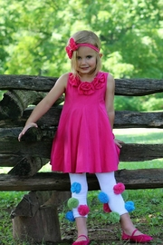 Gurly Bird Hot-Pink-Rosette-Neckline-Swing-Tunic - Front cropped