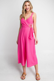 eesome Hot Pink Surplice O-Buckle Wide Leg Jumpsuit - Product Mini Image