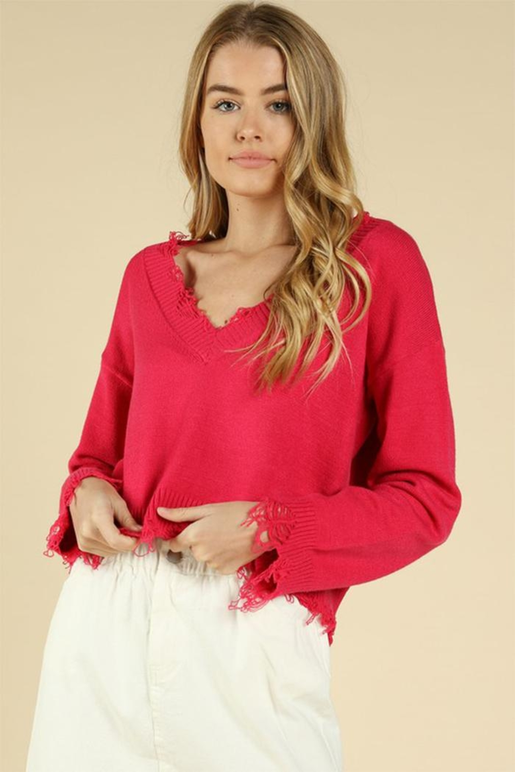 Wild Honey Hot Pink Sweater - Front Full Image