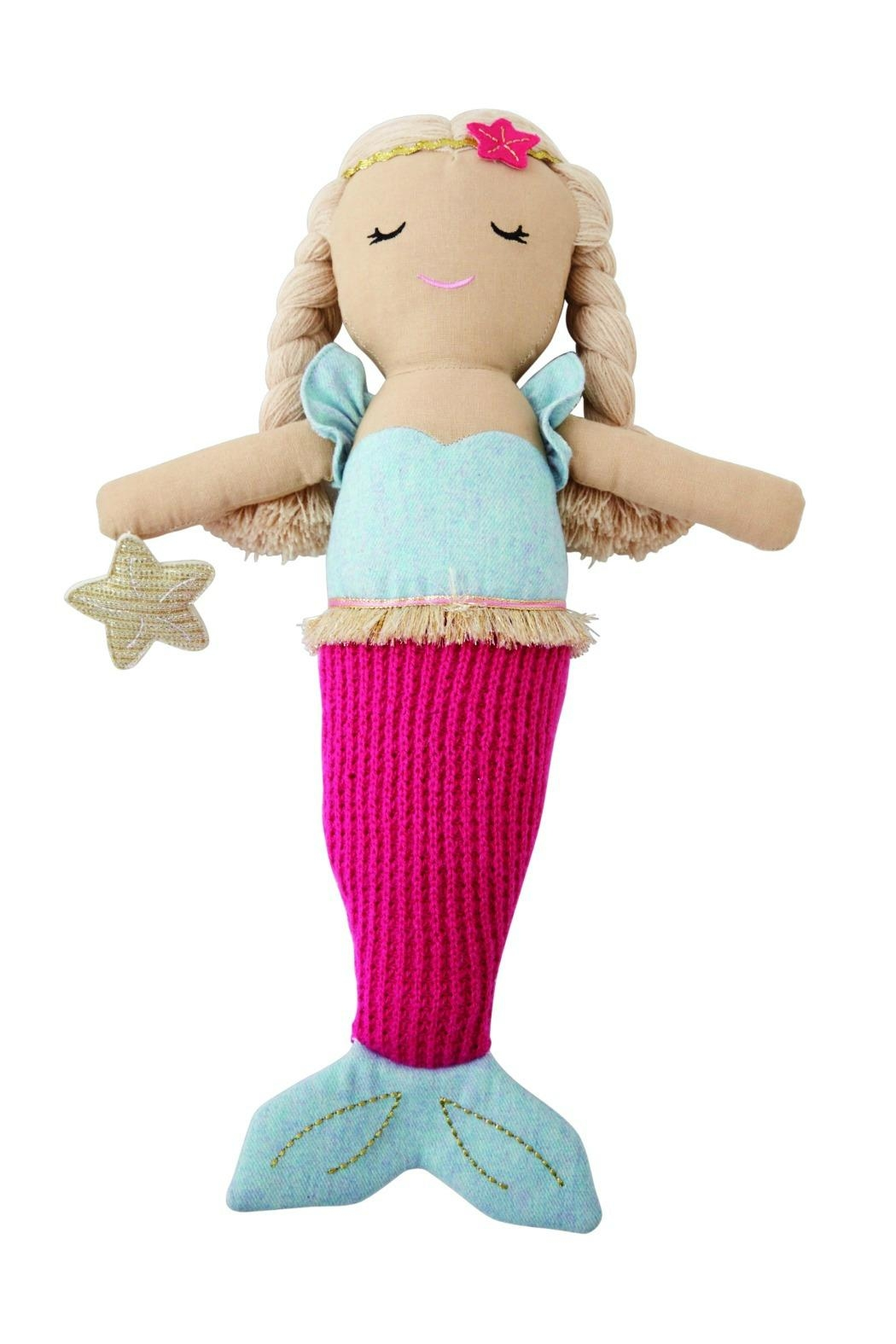 Mud Pie Hot-Pink-Tail Mermaid Doll - Main Image