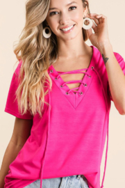 Bibi Hot Pink Terry V-Neck with Lace-up Detail Top - Product Mini Image