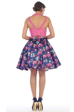 May Queen  Hot Pink Two Piece Floral Short Formal Dress - Alternate List Image