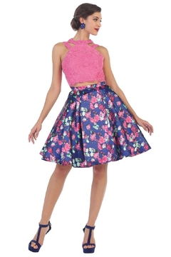 May Queen  Hot Pink Two Piece Floral Short Formal Dress - Product List Image
