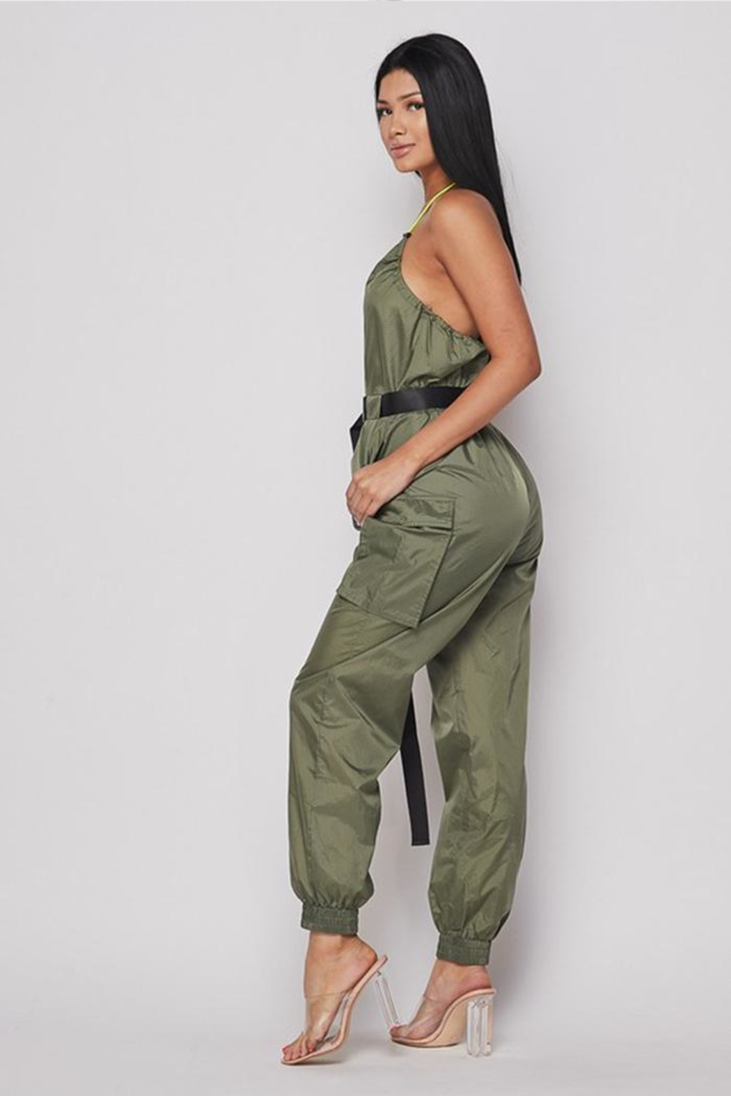 Hot & Delicious Belted Jogger Jumpsuit - Side Cropped Image