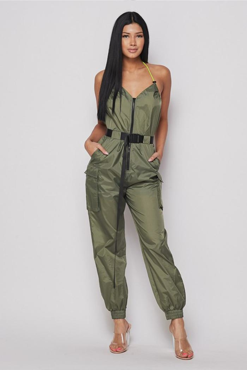 Hot & Delicious Belted Jogger Jumpsuit - Main Image