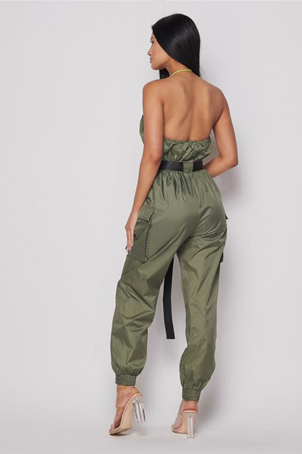 Hot & Delicious Belted Jogger Jumpsuit - Front Full Image