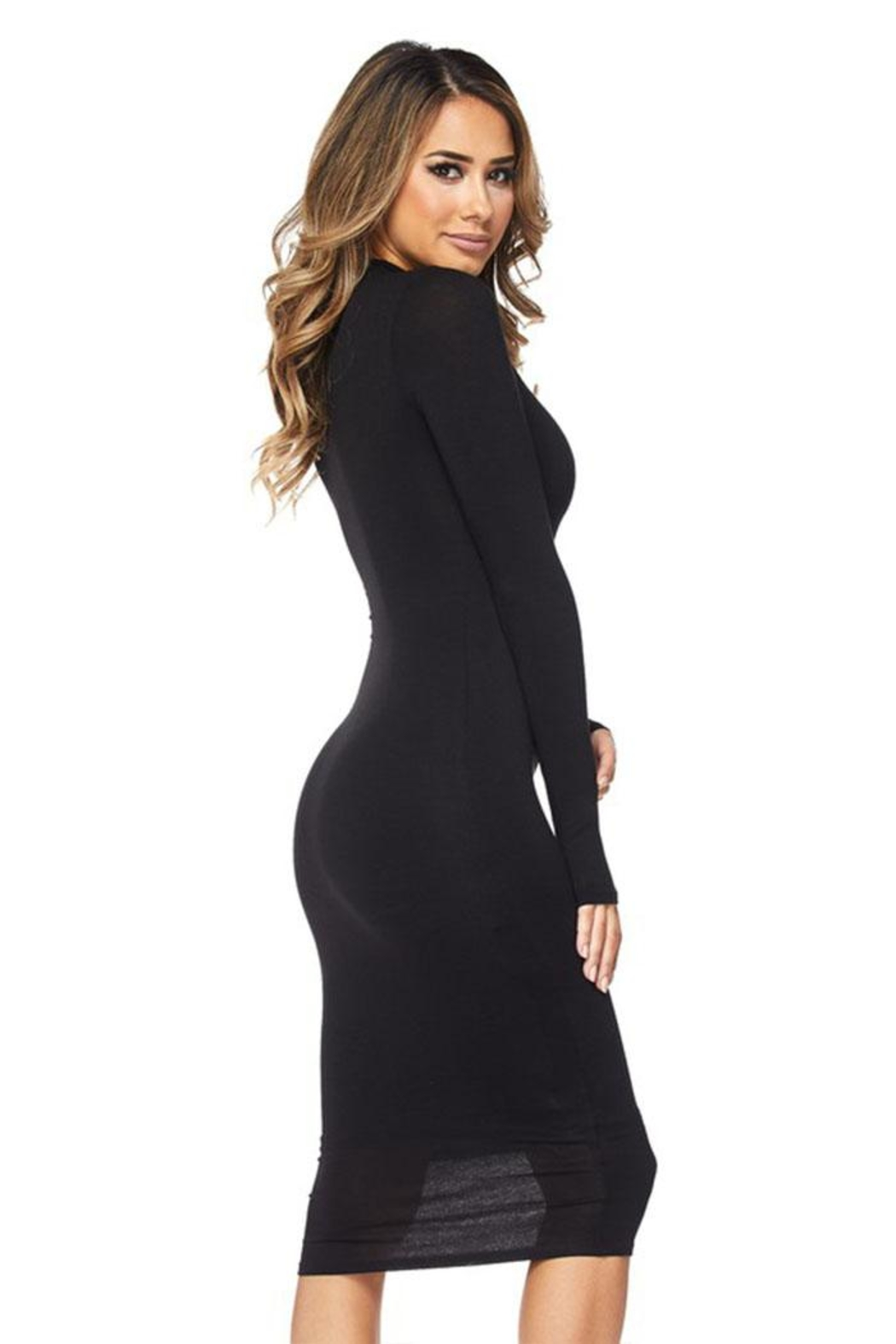 Hot & Delicious Black Bodycon Dress - Side Cropped Image