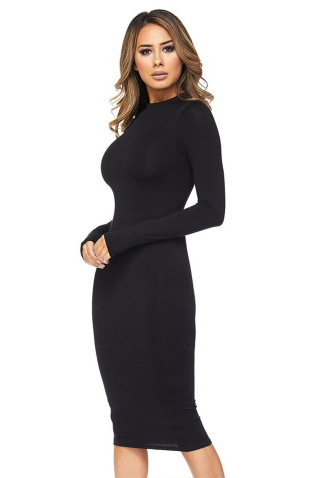 Hot & Delicious Black Bodycon Dress - Front Full Image