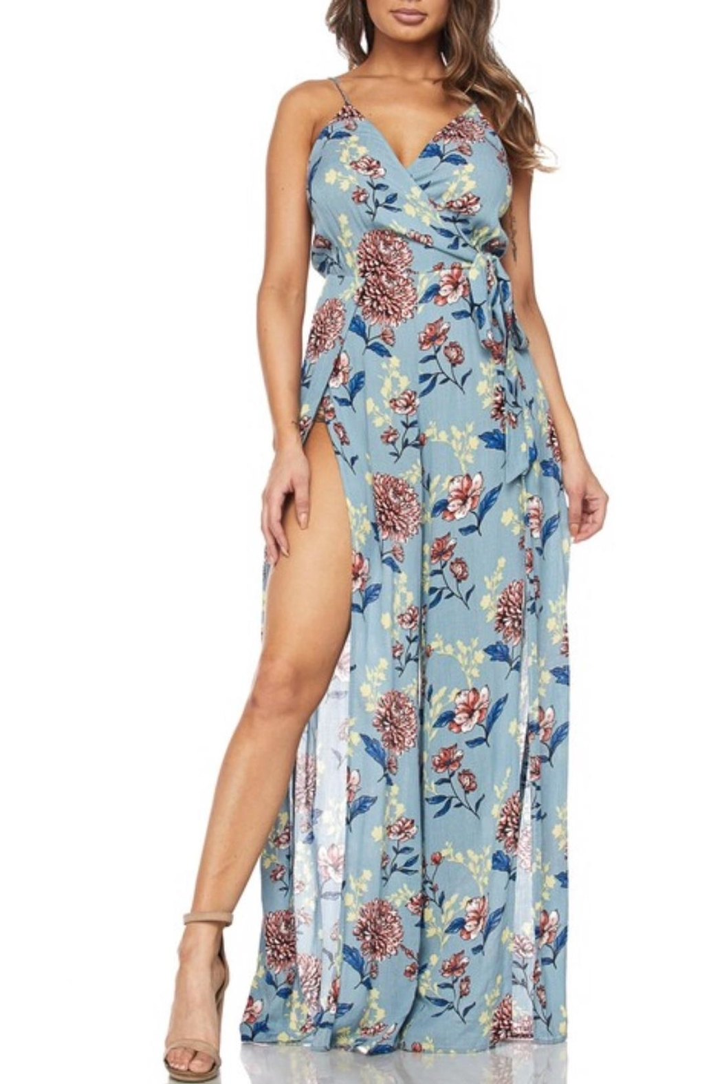 Hot & Delicious Blue Floral Jumpsuit - Front Cropped Image