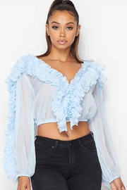 Hot & Delicious Blue Ruffle Top - Product Mini Image