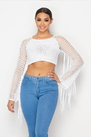 Hot & Delicious Crochet Fringe Top - Front cropped