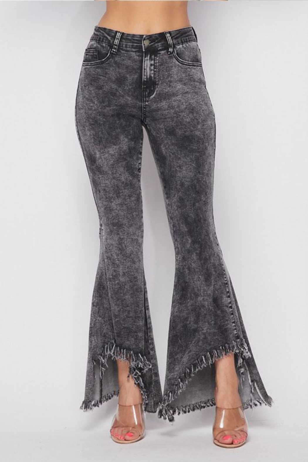 Hot & Delicious Distressed Bell-Bottom Jeans - Main Image