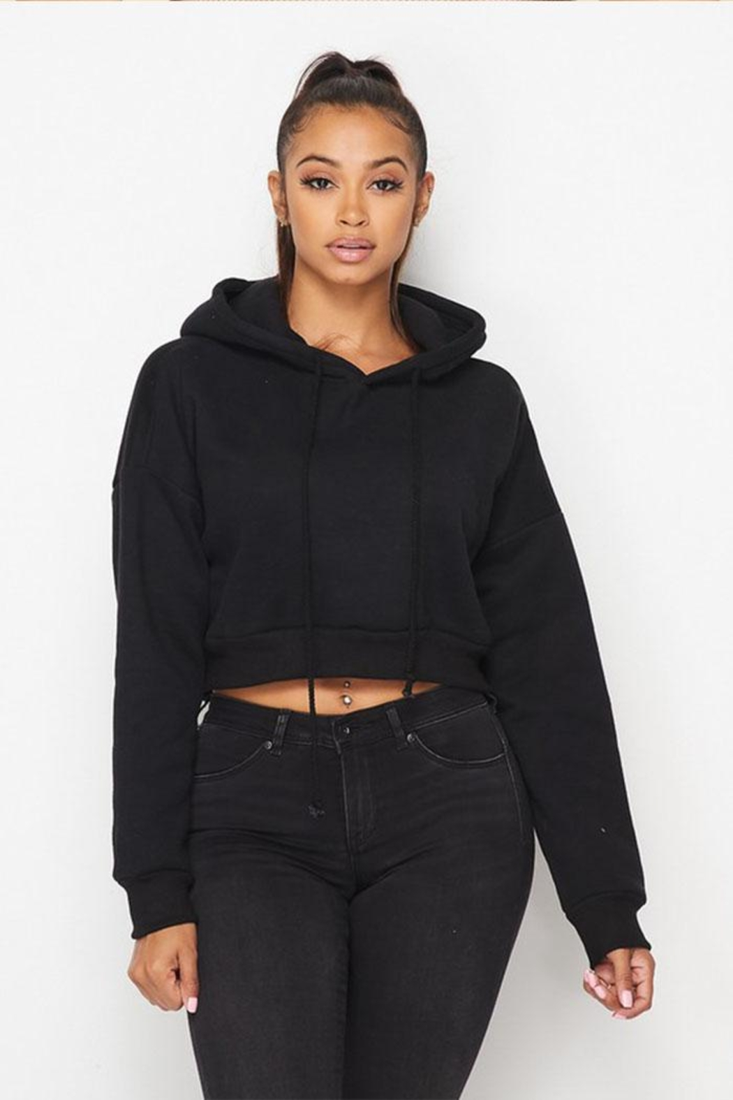 Hot & Delicious Drawstring Hoodie Sweatshirt - Front Cropped Image