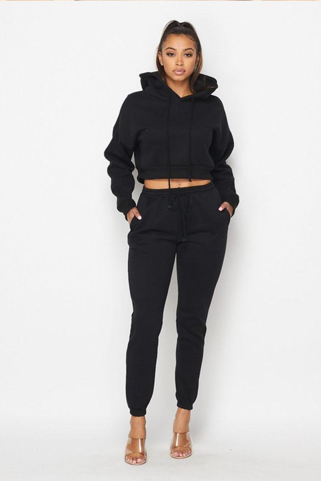 Hot & Delicious Drawstring Jogger Sweatpants - Front Cropped Image
