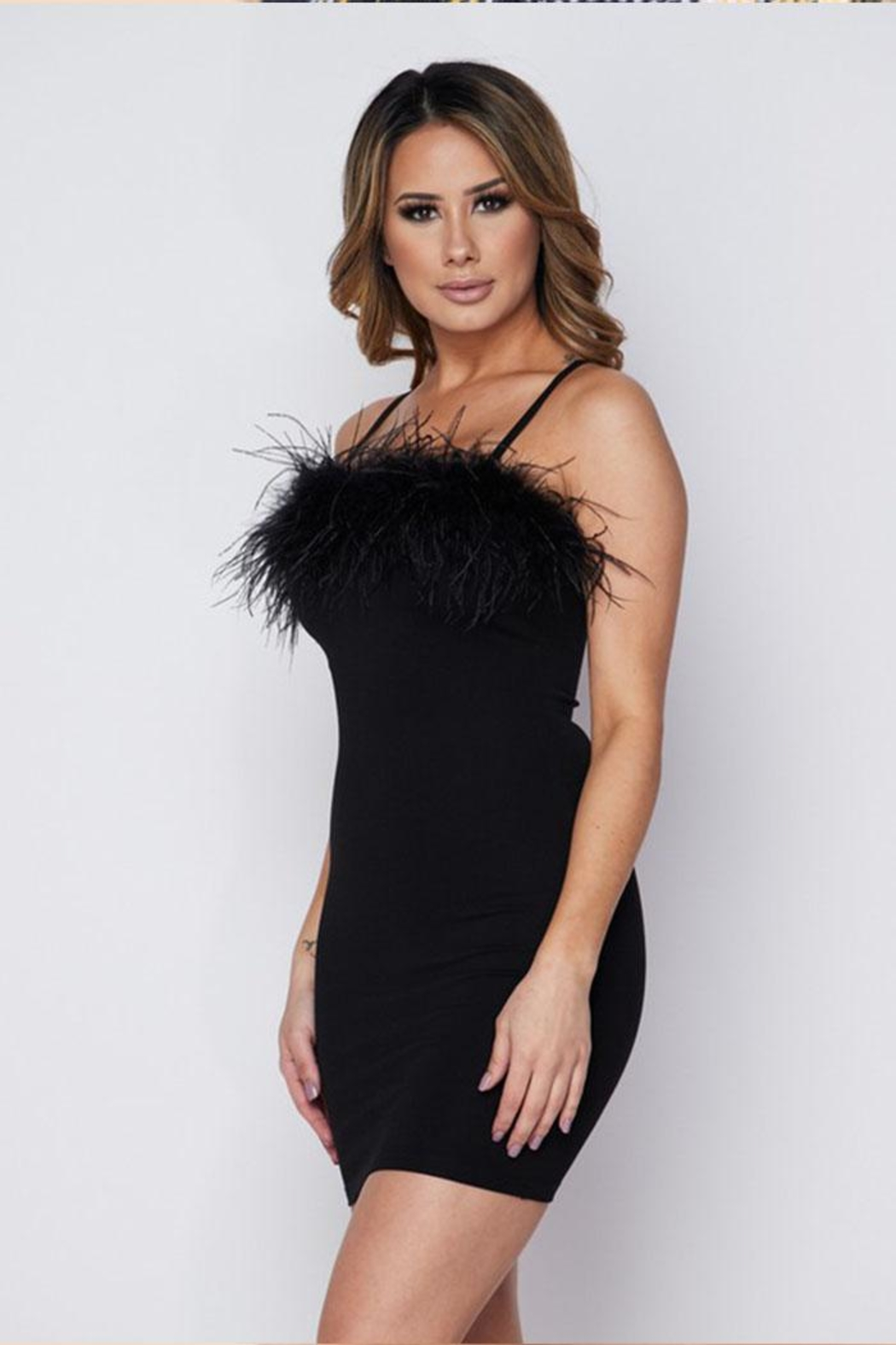 Hot & Delicious Feather Mini Dress - Side Cropped Image