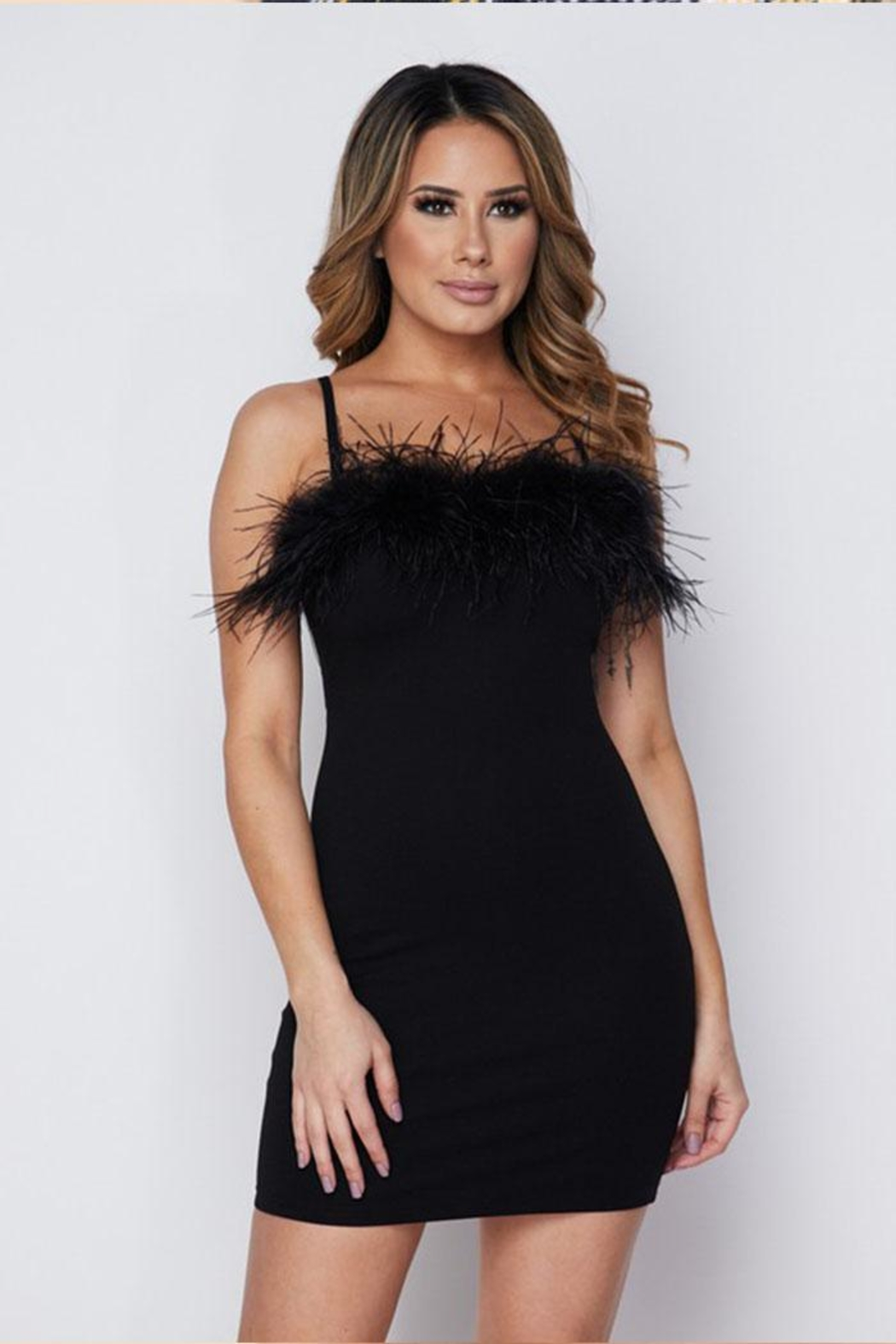 Hot & Delicious Feather Mini Dress - Front Full Image