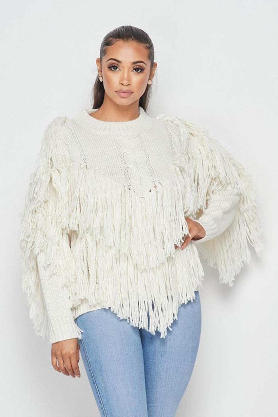 Hot & Delicious Fringe Knit Sweater - Front Full Image