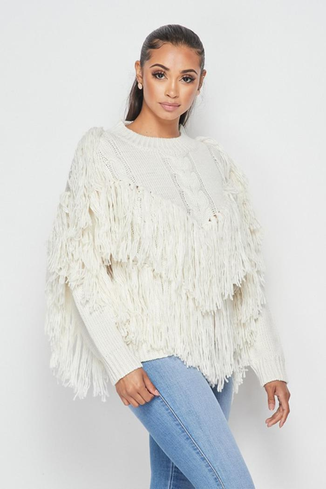 Hot & Delicious Fringe Knit Sweater - Side Cropped Image