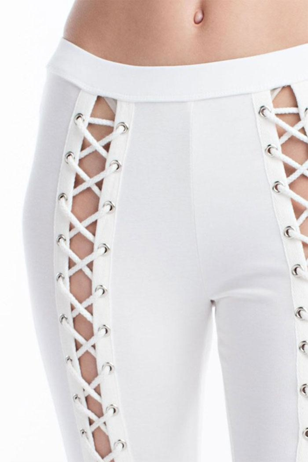 Hot & Delicious Front Lace-Up Pants - Back Cropped Image