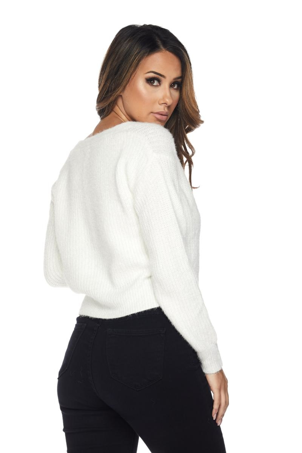 Hot & Delicious Fuzzy Cropped Sweater - Side Cropped Image