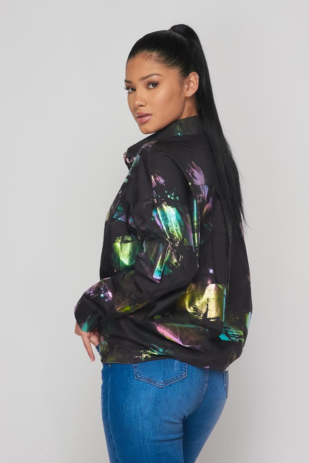 Hot & Delicious Hologram Button Down - Front Full Image