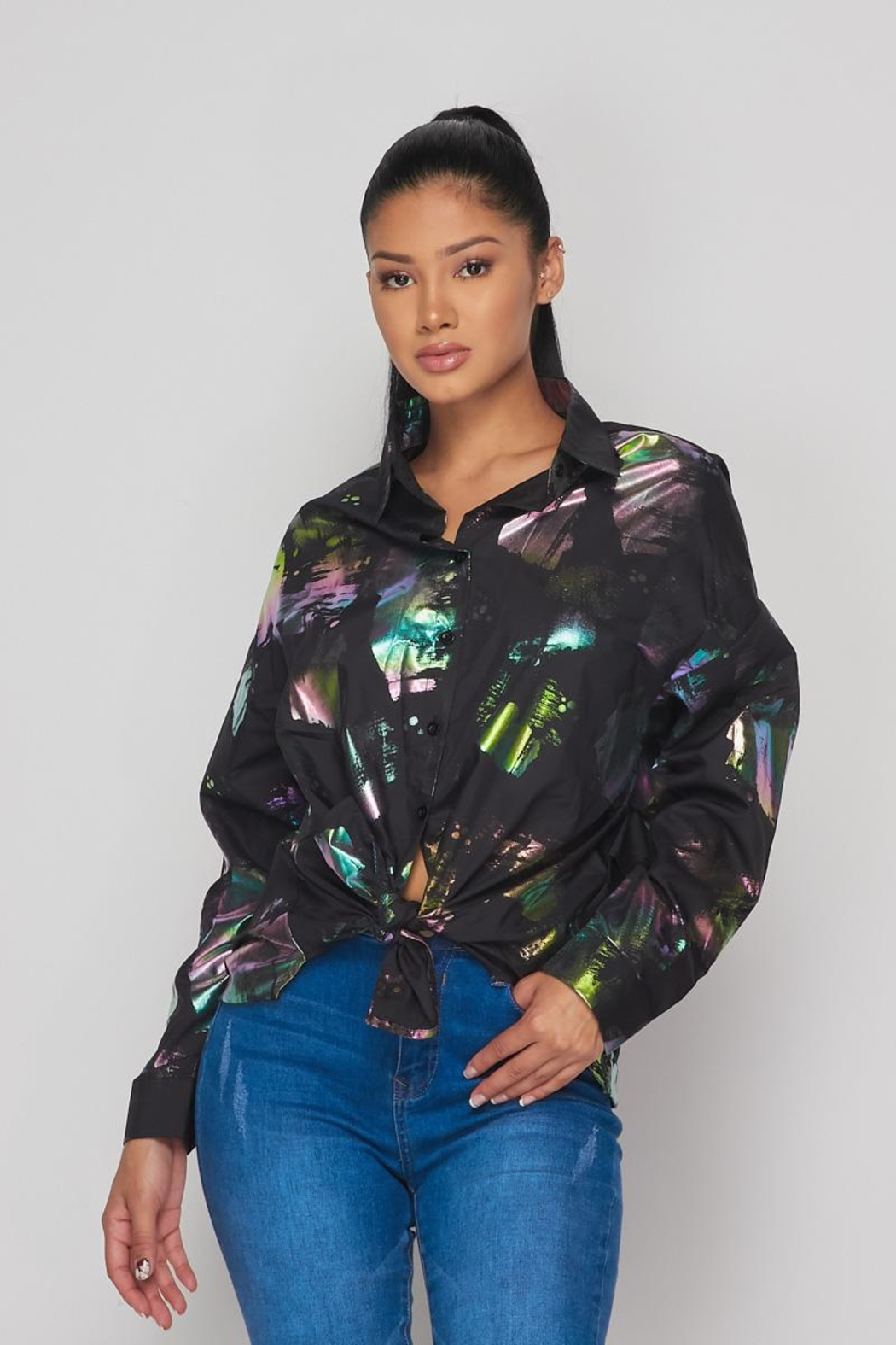 Hot & Delicious Hologram Button Down - Main Image