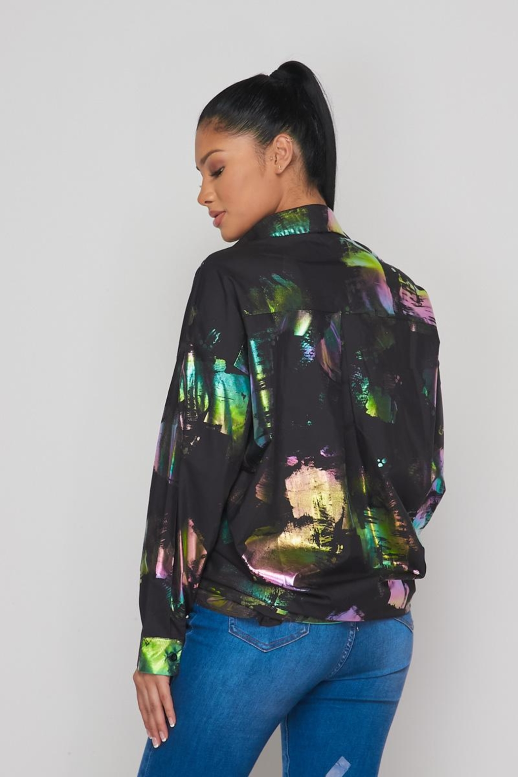 Hot & Delicious Hologram Button Down - Side Cropped Image