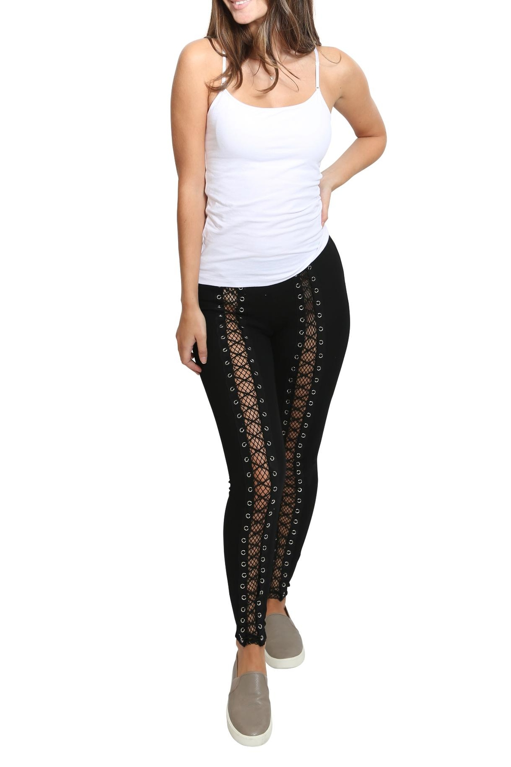 Hot & Delicious Lace Up Fishnet Pants - Main Image