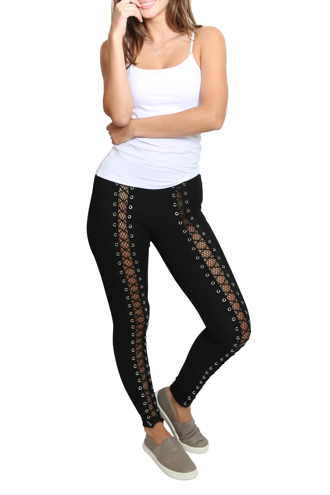 Hot & Delicious Lace Up Fishnet Pants - Front Full Image