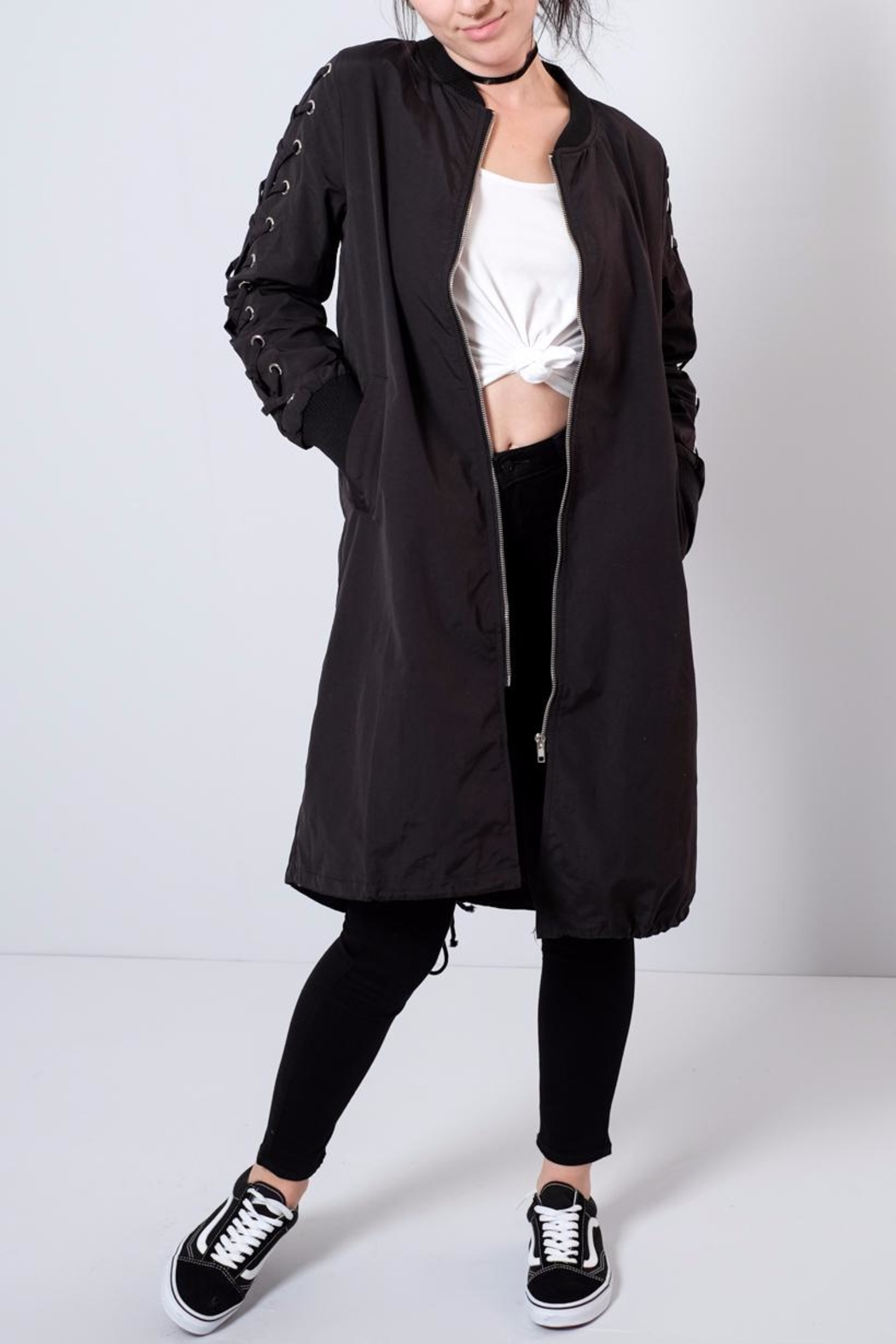 Hot & Delicious Lace Up Sleeve Bomber - Front Cropped Image