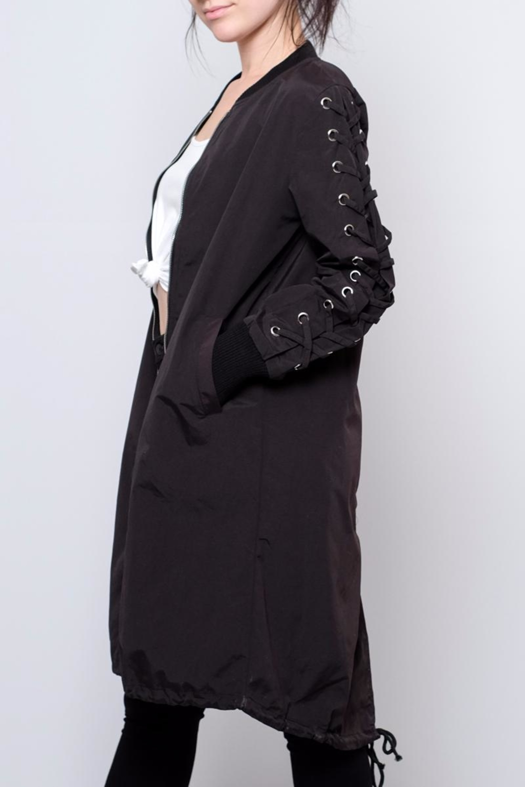 Hot & Delicious Lace Up Sleeve Bomber - Main Image