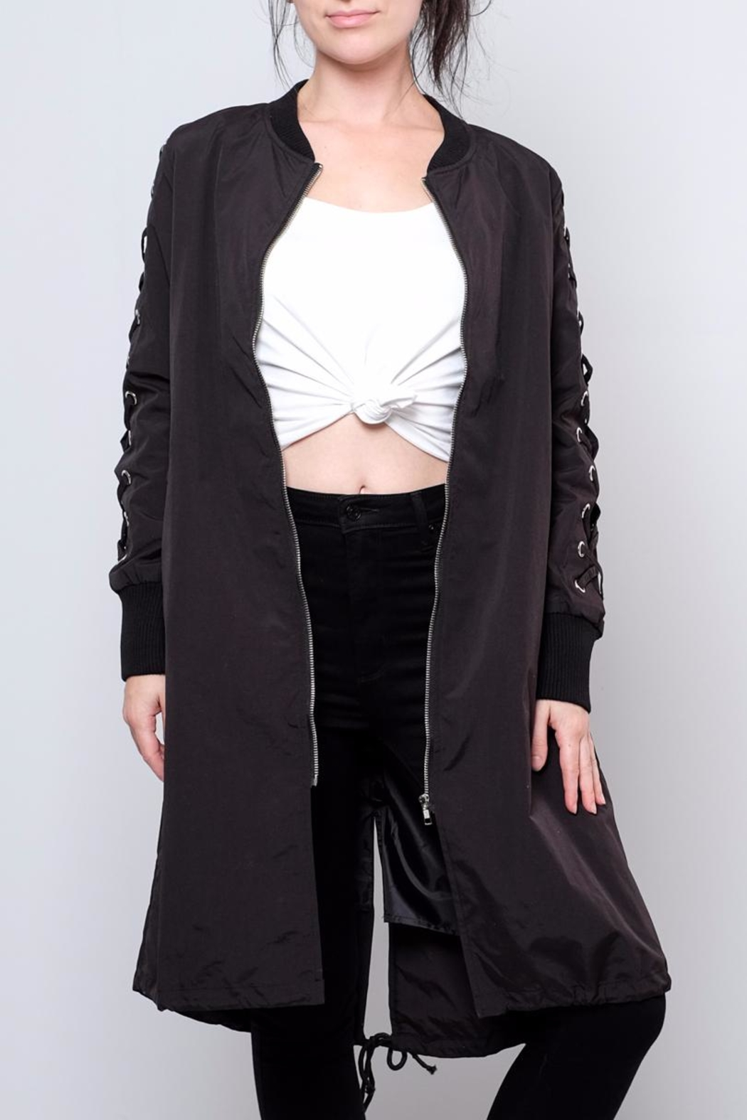Hot & Delicious Lace Up Sleeve Bomber - Front Full Image