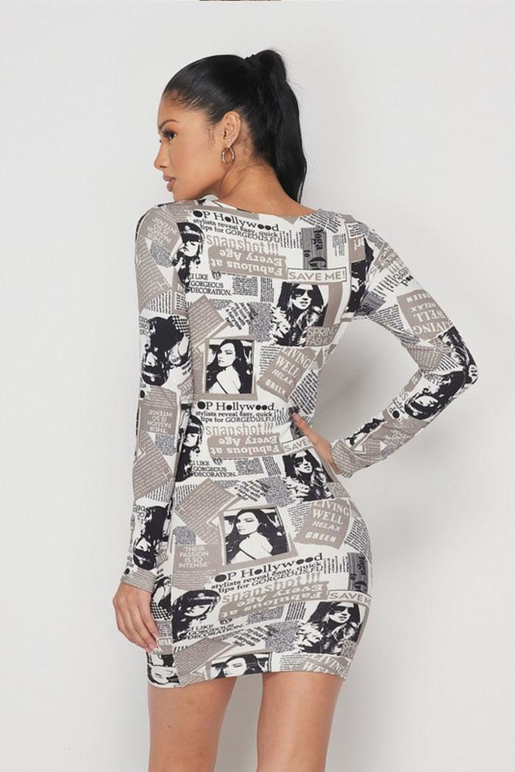 Hot & Delicious Newspaper Print Mini-Dress - Side Cropped Image