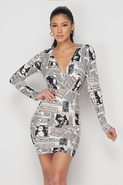 Hot & Delicious Newspaper Print Mini-Dress - Front cropped