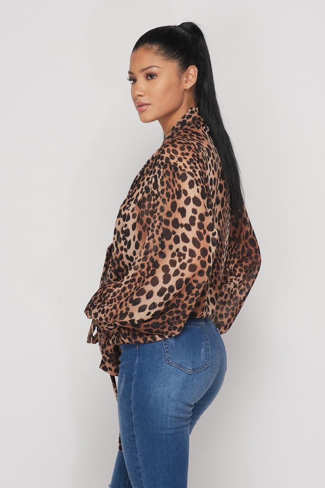Hot & Delicious Open Leopard Blouse - Side Cropped Image