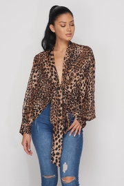 Hot & Delicious Open Leopard Blouse - Front cropped