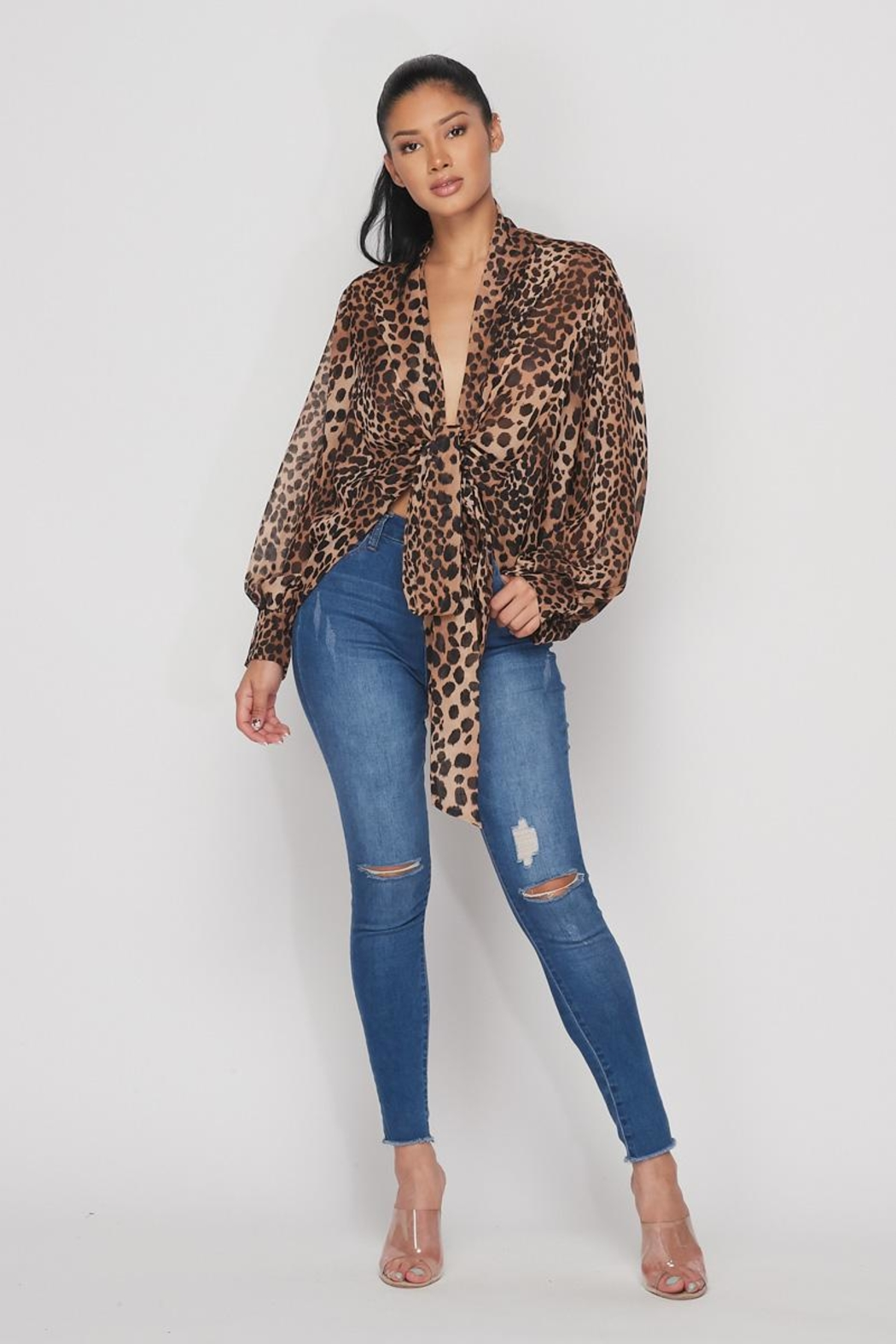 Hot & Delicious Open Leopard Blouse - Front Full Image