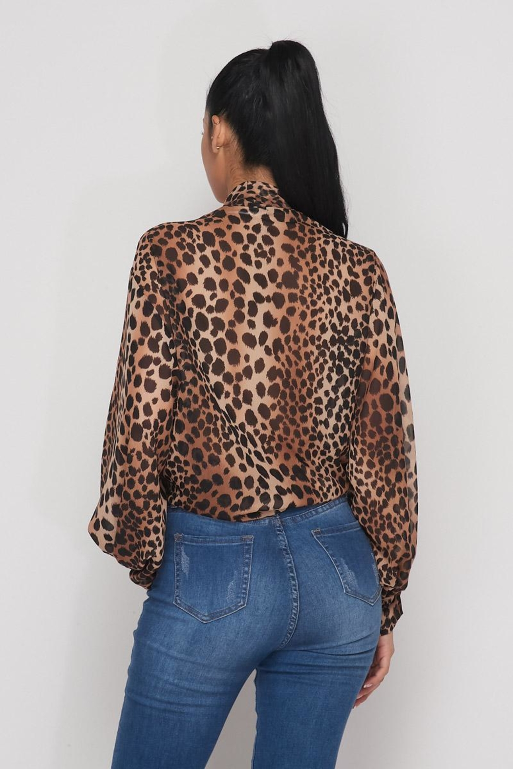 Hot & Delicious Open Leopard Blouse - Back Cropped Image