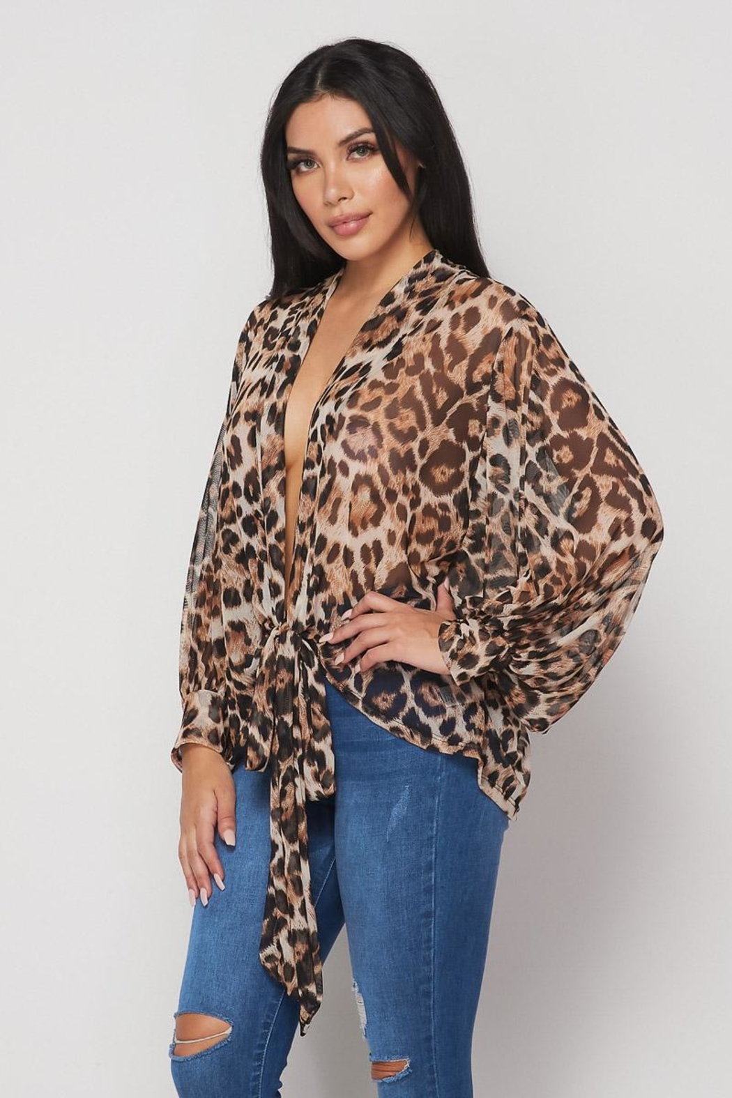 Hot & Delicious Open Tie Blouse - Back Cropped Image