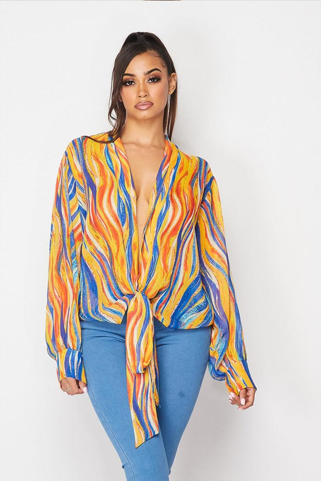 Hot & Delicious Patterned Tie Top - Main Image