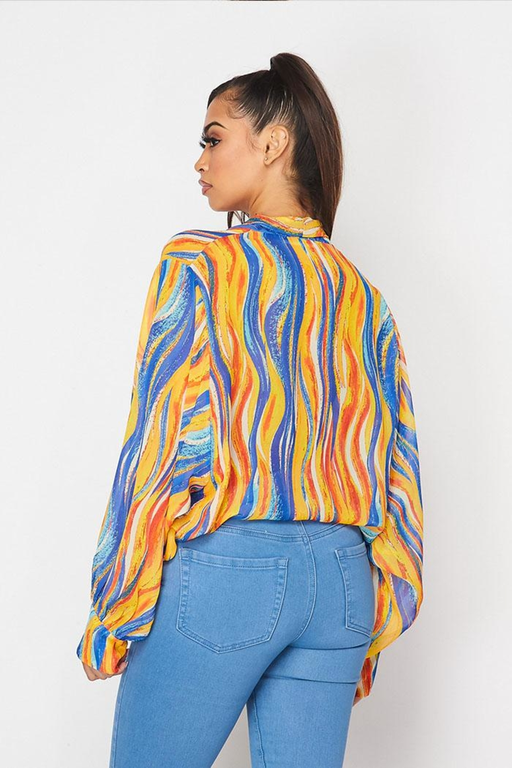 Hot & Delicious Patterned Tie Top - Back Cropped Image