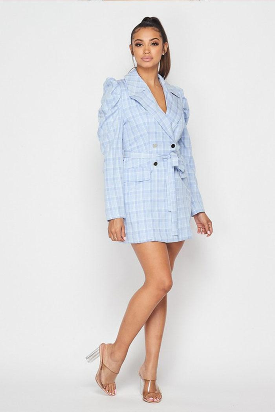 Hot & Delicious Plaid Blazer Dress - Front Full Image
