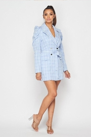 Hot & Delicious Plaid Blazer Dress - Front full body